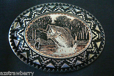 VTG Two tone color metal Rainbow Trout Fish Fishing Belt Buckle