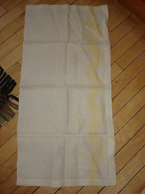 """Antique Cotton Huck EMBROIDERED TOWEL Yellow Baskets 32""""X15 1/2"""""""