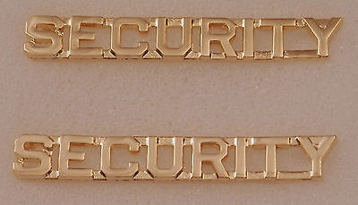 "SECURITY Gold 1/4"" Lettering/Letters Pair Collar Pins Rank Insignia"