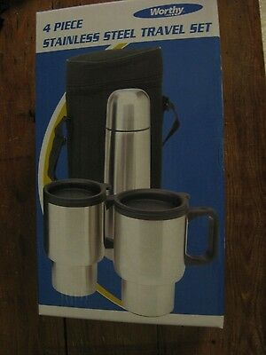 Worthy 4 Piece Insulated Stainless Steel Thermos- Mug Travel Set