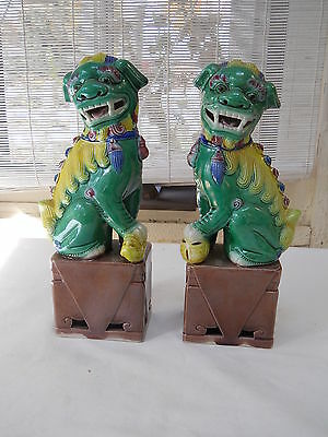 VTG Foo Dog Temple Dogs Kylin Chinese Figurine Statue SET antique Fu Lions