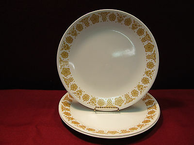 """Set of (3) Corning/Corelle Butterfly Gold 10"""" Dinner Plates W/Additional Pieces"""