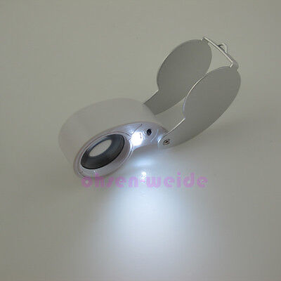 40X 25mm Magnifying Glass Magnifier Jeweler/Coin Loupe Loop Led Light White