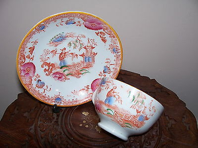 Chinese Famille Rose Cantonese Porcelain Unusual Cup & Saucer
