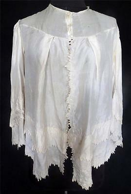Very Rare Victorian Antique French Fine Cream Silk Hand Embroidered Jacket Sz L