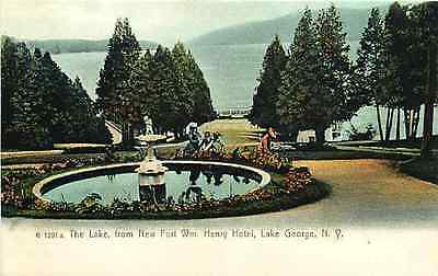 Lake George New York NY 1906 Fort William Henry Hotel Fountain Vintage Postcard