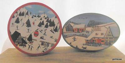"Vintage Set of 2 Bentwood Christmas Boxes 2 Different Designs 3 x 2""  C"