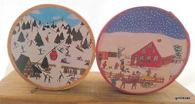 "Vintage Set of 2 Bentwood Christmas Boxes 2 Different Designs 3 x 2""  A"