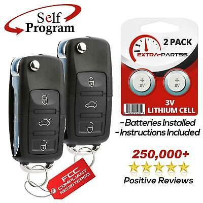 2 New Uncut Replacement Remote Fob Flip Ignition Car Chip Key 4 Button for Ford
