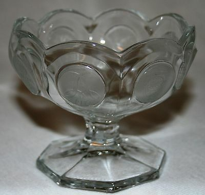 Vintage Collectible Elegant Fostoria Crystal Coin Glass Jelly Compote Candy Nice