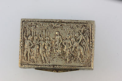 Antique Silver Metal Trinket/ Snuff Box Embossed Figures On Cover Stamped Italy