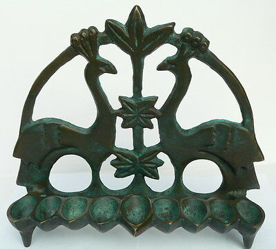 "Antique Design 8"" Bronze Hanukkah Menorah Candle Oil Lamp Birds Jewish Synagogue"