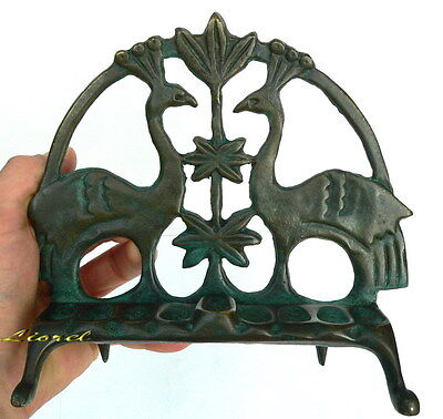 "Antique Design 7"" Bronze Heavy Hanukkah Menorah Bird Candle Oil Lamp Judaica Art"