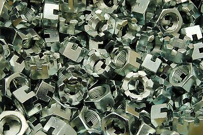 (50) Slotted Hex Castle Nuts 3/4-16 Fine Thread Zinc Plated