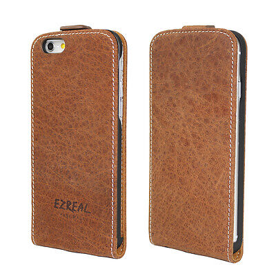 Ezreal Full Grain Natural Genuine Real Leather Case Flip Cover For iPhone 6 6S