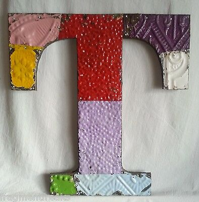 "Large Antique Tin Ceiling Wrapped 16"" Letter 'T' Patchwork Metal Chic"