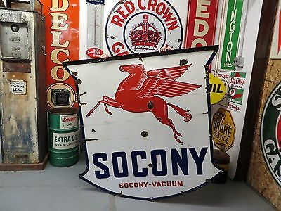 Porcelain Socony Sign Vacuum Oil Gas Pegasus 2 Sided Station Advertising 1930's