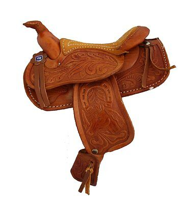 """Miniature Horse Saddle Genuine Tooled Leather 5"""" Seat Western Novelty Brown"""