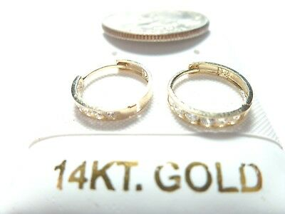 SOLID GOLD Cubic Zirconia 10MM Baby/Infant Huggie Earrings.10 or 14KT SOLID GOLD