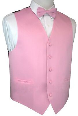 Italian Design. Pink Satin Tuxedo Vest and Bow-Tie Set. Formal, Wedding, Prom