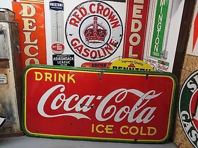 Porcelain Coca Cola Sign 1940 BIG Beautiful Advertising Gas Oil Station Deli WOW
