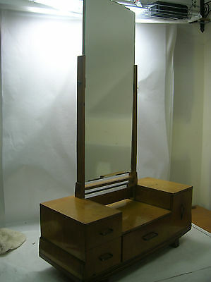 Vintage Japanese Make-Up Mirror Chest Dresser Tansu Kiri Wood circa1960s #268