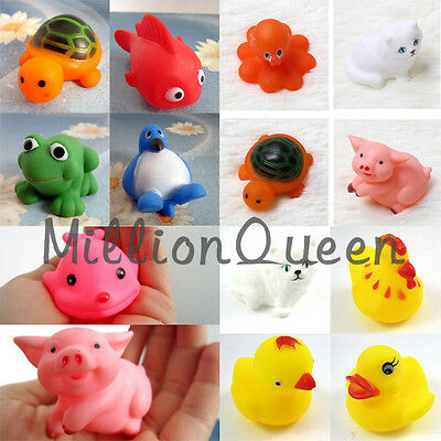 1Set/13pcs Rubber Different Animals Bathing Toy Kids Baby Bath Sounding Toys New