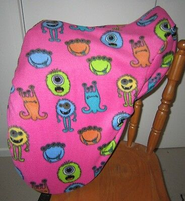 Horse Saddle cover Pink Little monsters & FREE EMBROIDERY Aussie Made Protection