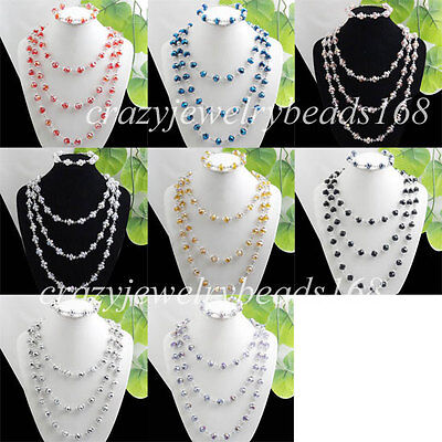 Fashion Crystal Faceted Beads Necklace Bracelet Set BM003
