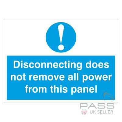 Disconnecting Does Not Remove All Power Self Adhesive 10 Label 55x75mm