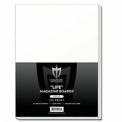 200 LIFE Magazine Acid Free Backing Boards white cardboard backer Max Pro