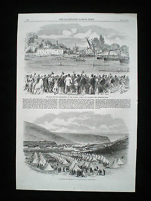 River Thames Rowing Match Crabtree Tavern Pub London Henry Kelley Old Print 1865