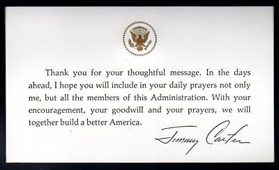 Jimmy Carter White House Thank You Card