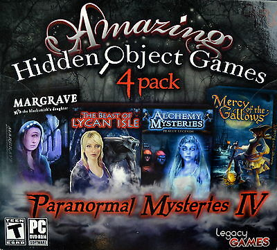"""PC Video Game"""" Paranormal Mysteries IV """" Amazing Hidden Object Games 4 Pack"""
