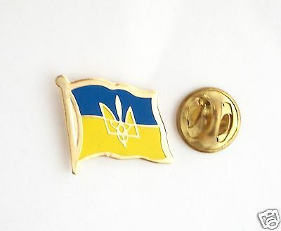 Ukraine Ukrainian National Country Flag Lapel Pin Tryzub Trident Metal
