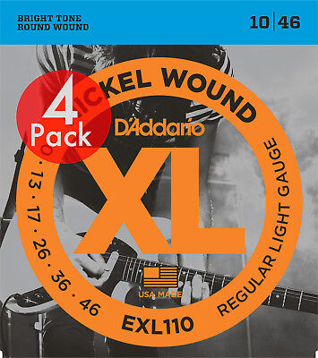 D'Addario EXL110 Electric Guitar Strings Light 10-46 - 4 Pack  - New