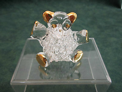 GLASS BABY PANDA FIGURINE WITH GOLD DETAILING IS 2 INCHES HIGH & WIDE