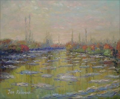 Hand Painted Oil Painting Repro Claude Monet Floating Ice Near Vetheuil 20x24in