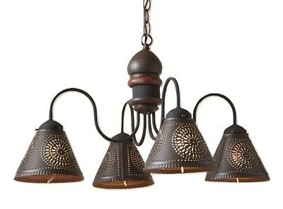 WOOD & PUNCHED TIN CHANDELIER Primitive Country Kitchen Ceiling Dining Light