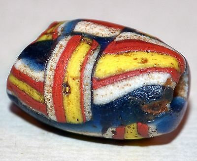 Ancient Medieval Islamic Striped Excavated Glass Bead Mauritania, African Trade