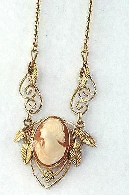 Vintage 1940's Vandell Gold Filled Cameo Necklace