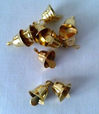 10 LOVELY GOLD METAL BELLS for Christmas Craft/Wedding Crafts