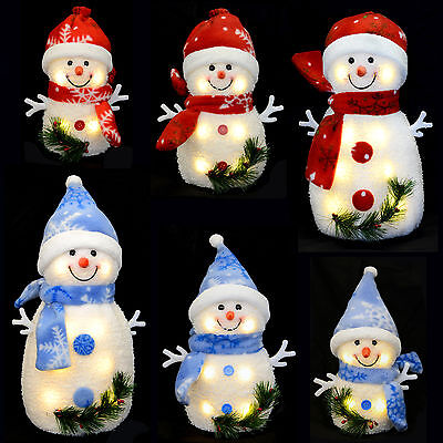 Light Up Snowman Warm White LEDs Snowflake Christmas Xmas Decoration Figure