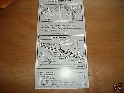 1966 Lincoln Continental Trunk Jack Instructions Decal