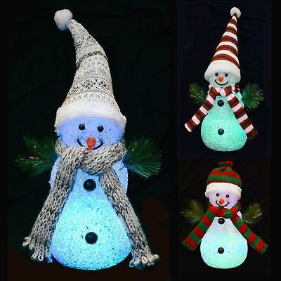 18cm Light Up Snowman Colour Changing Multi LED Christmas Decoration Figure