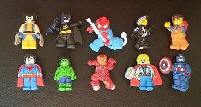 10 x Lego Movie Avengers Croc Shoe Charms Jibbitz Crocs Wristbands Charm