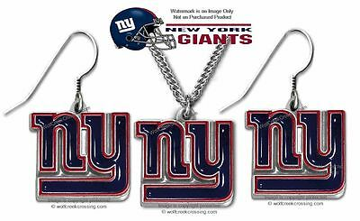 NEW YORK GIANTS NECKLACE & EARRINGS SET -  NFL LICENSED JEWELRY GIFT SALE   #CB*