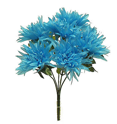 6 FUJI MUMS ~ TURQUOISE BLUE   TEAL ~ Silk Wedding Flowers Bouquets Centerpieces
