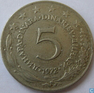 5 Five Dinar Yugoslavia Coins Eastern Europe Circulated Coinage
