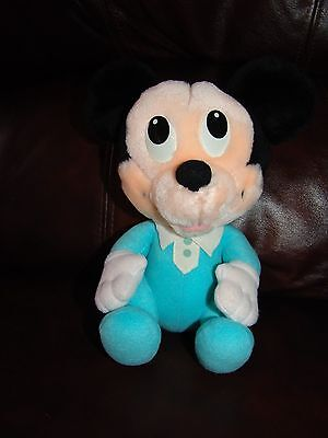 """Vintage Playskool Disney Babies Mickey Mouse in Outfit Plush Doll 8 1/2"""""""